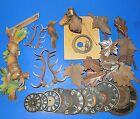 Lot of Vintage Cuckoo Clock Parts - Antlers, Dials, Wood Pieces, Deer, Bird etc.