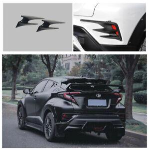 Glossy black Rear spoiler side fog lamp cover trim For Toyota C-HR CHR 2016-2021