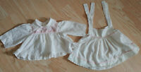Vintage Bryon 3-6 Month Medium Baby Dress Smocked Ruffles Lace Pinafore Ducks