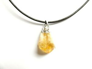 QUALITY RAW UNCUT CITRINE CRYSTAL STONE PENDANT LEATHER NECKLACE SILVER PLATED