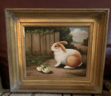 Vintage 20th C Oil Painting Bunny Rabbit Country Farm Animals Signed