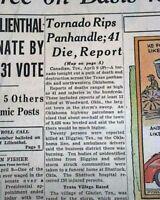 F5 TORNADOES DISASTER Woodward Oklahoma - Higgins & Glazier Texas 1947 Newspaper
