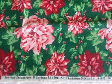 """Springs Ind Christmas Spirit Flowers Poinsettia Cotton Fabric Remnant 45"""" x 1yd"""