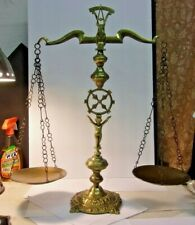 "Large Vintage Brass SCALES OF JUSTICE Balance Scale Cherub 25"" tall copper trays"