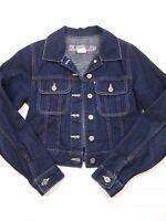 Women's Silver Blue Denim Short Jean Jacket Long Sleeves Button Up Size XS C41