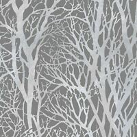 TREE BRANCHES WALLPAPER DARK GREY / SILVER AS CREATION 30094-3  FEATURE WALL NEW