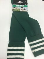 New Adidas 3 Stripe Soccer Sock Green / White Size Small