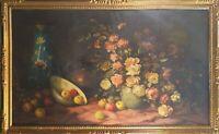 NATURE MORTE. FLEURS ET FRUITS. HUILE SUR TOILE. ANGULO SIGNÉ. 1951