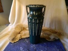 Antique VTG Red Wing Pottery Two Handled Egyptian Paneled Green Vase Early 1900s