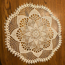 Vintage Round White Crocheted Floral Doily- Lovely