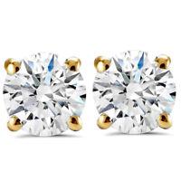 G SI 1.50ct Round Round Diamond Studs with Screw Backs 14k Yellow Gold Enhanced