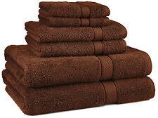 Brown Bathroom Towel Set Thick 100% Egyptian Cotton 6pc Bath NEW Wash Cloth