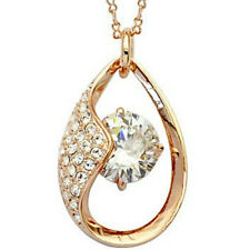 """Rose gold finish clear pendant 18"""" necklace quality jewellery UK bridal gift"""