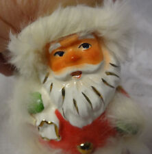 Vintage NAPCO Candy Holder Christmas Santa  Flocked Rabit Fur Japan