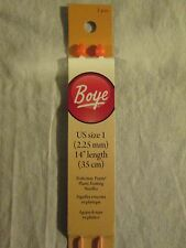 "Boye Pair of Knitting Needles 14""  - US Size 1  Single Point Plastic FREE SHIP"