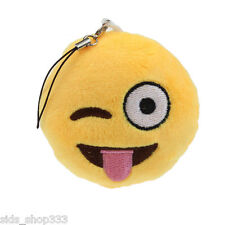 High quality Emoji key chain bigger size 3inch wink tongue soft plush key chain