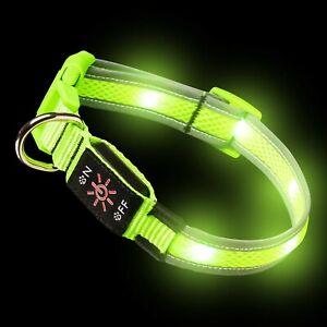 Green LED Dog Collar Light Up Luminous USB Rechargeable Flashing Night Safety