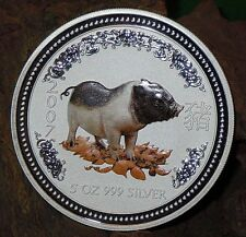 RARE ! ~ 2007 ~.999 SILVER ~5~OZ ~ YEAR of the PIG ~ PERTH MINT ~COLOR ~ $348.88