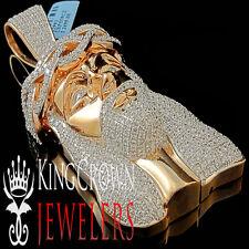 Real Rose Gold Silver Lab Diamond Big Jesus Face Custom Piece XL Pendant Charm