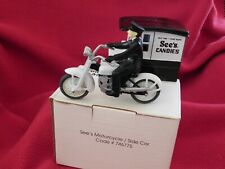 See's Candies Collectible Motorcycle with SideCar & Driver in original box - New