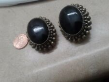 Vintage 80 ' Clip On Earrings Big  Black Onyx