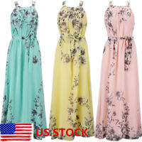 US Womens Summer Boho Long Maxi Dress Ladies Evening Party Sundress Floral Dress