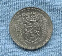1967 NZ New Zealand  Fern Dollar $1 dollar coin K-820