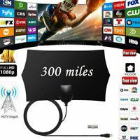 Ultra-Thin Indoor Digital TV Ariel HD Television Antenna 300Miles Range Receiver