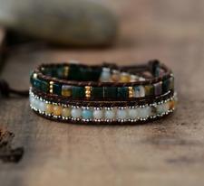 Natural Beaded Aventurine Bracelet Wrap Green Amazonite Chakra Leather Cuff