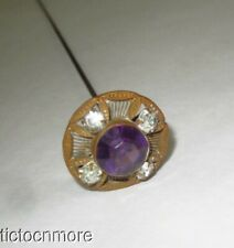 ANTIQUE NOUVEAU MILLENERY LONG HATPIN AMETHYST GLASS JEWELED PIERECED SHIELD