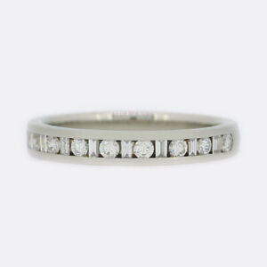 Diamond Eternity Ring - Baguette and Brilliant Cut 18ct White Gold Size I