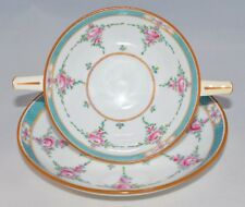 Footed BOUILLON Cup & Saucer CREAM SOUP PERSIAN ROSE B838 Older MINTON (8 Avail)