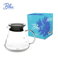 BLUE BREW Borosilicate Glass Coffee Server, 600 ML, Clear