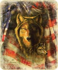 Wolf & American Flag Patriotic USA Plush Mink Faux Fur Blanket Super Soft Full