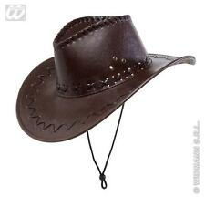 Faux Leather Brown Hat Cowboy Cow Boy Fancy Dress Sheriff