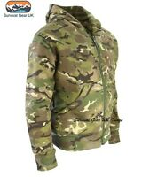 MENS ARMY HOODIE FULL ZIP JACKET CAMO FLEECE LINED HOODY AIRSOFT BTP CAMO (XL)
