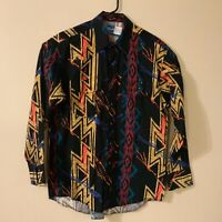 Vintage Wrangler cowboy shirt - size L retro color block