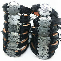 New 12pcs/set of 12 constellations Handmade Leather Cuff Bracelets for Men Women