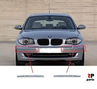 FOR BMW 1 SERIES 2007 - 2013 NEW FRONT BUMPER MOLDING TRIM PAIR SET PDC HOLES