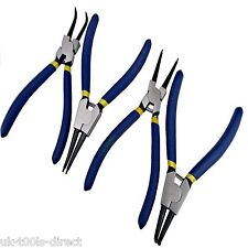"4pc Circlip Plier Set 7"" Snap Ring Pliers Internal External Bent Straight Tips"