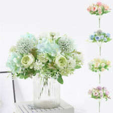 1 Bunch Home Peony Flower Hydrangea Bouquet Fake Rose Tea Rose 7 Fork 13 Heads