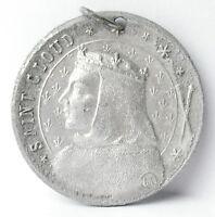 Médaille pendentif à Saint Cloud Clodulf de Metz c1920 A J Corbierre 22mm Medal