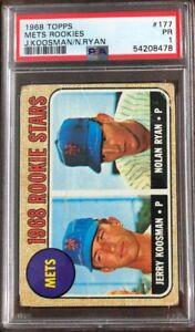 1968 Topps #177 Mets Rookies Nolan Ryan Jerry Koosman RC Rookie HOF PSA 1 Poor
