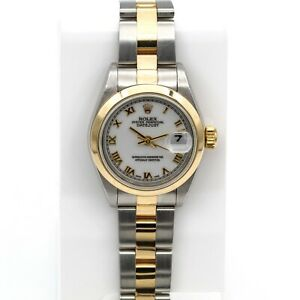 ROLEX LADIES TWO-TONE OYSTER PERPETUAL DATEJUST 69163 WRIST WATCH NR #W592-1