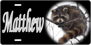 Engraved - Personalized Raccoon License Plate - Auto Tag