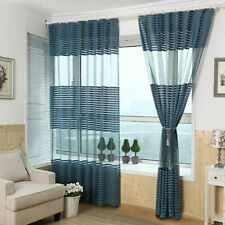 LIVING ROOM BALCONY STRIPED WINDOW TULLE VOILE SHEER CURTAINS DRAPE DECOR v