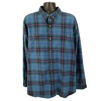 Duluth Trading Co Men's 2XL Free Swingin' Flannel Shirt Button Front Blue Plaid