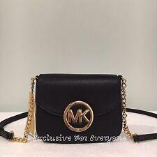 NWT Michael Kors Fulton Small Black Leather Crossbody Bag $148