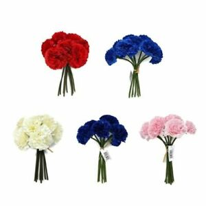 8 Head Artificial Carnation Flower Bunch x 24cm - Ivory Red Pink or Blue