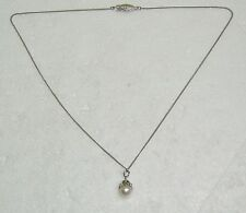 "WHITE PEARL PENDANT NECKLACE SET STERLING SILVER 17"" LENGTH N366-O"